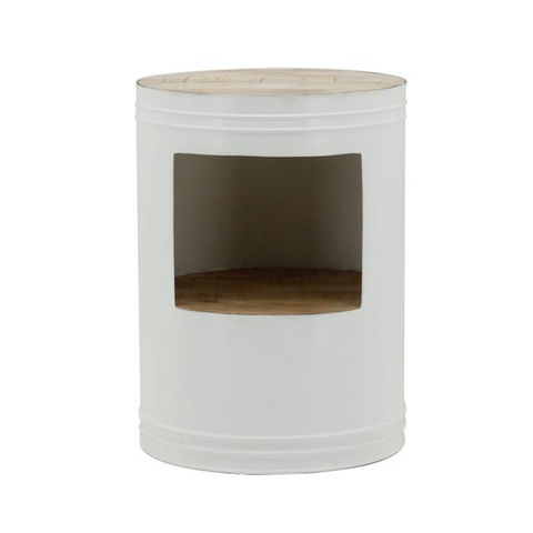 Sidetable Barrel Wit