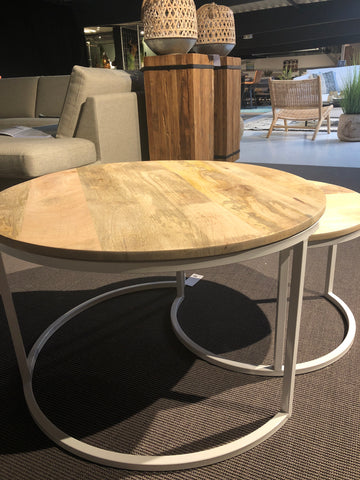 Set van 2 salontafel rond naturel