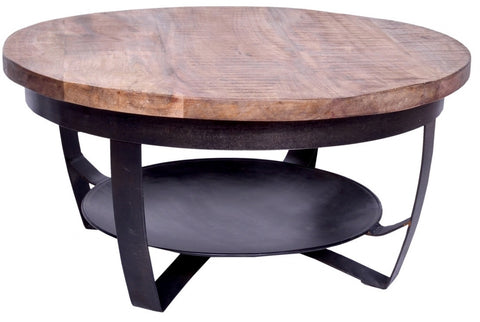Iron Wooden Paras Round Coffee Table