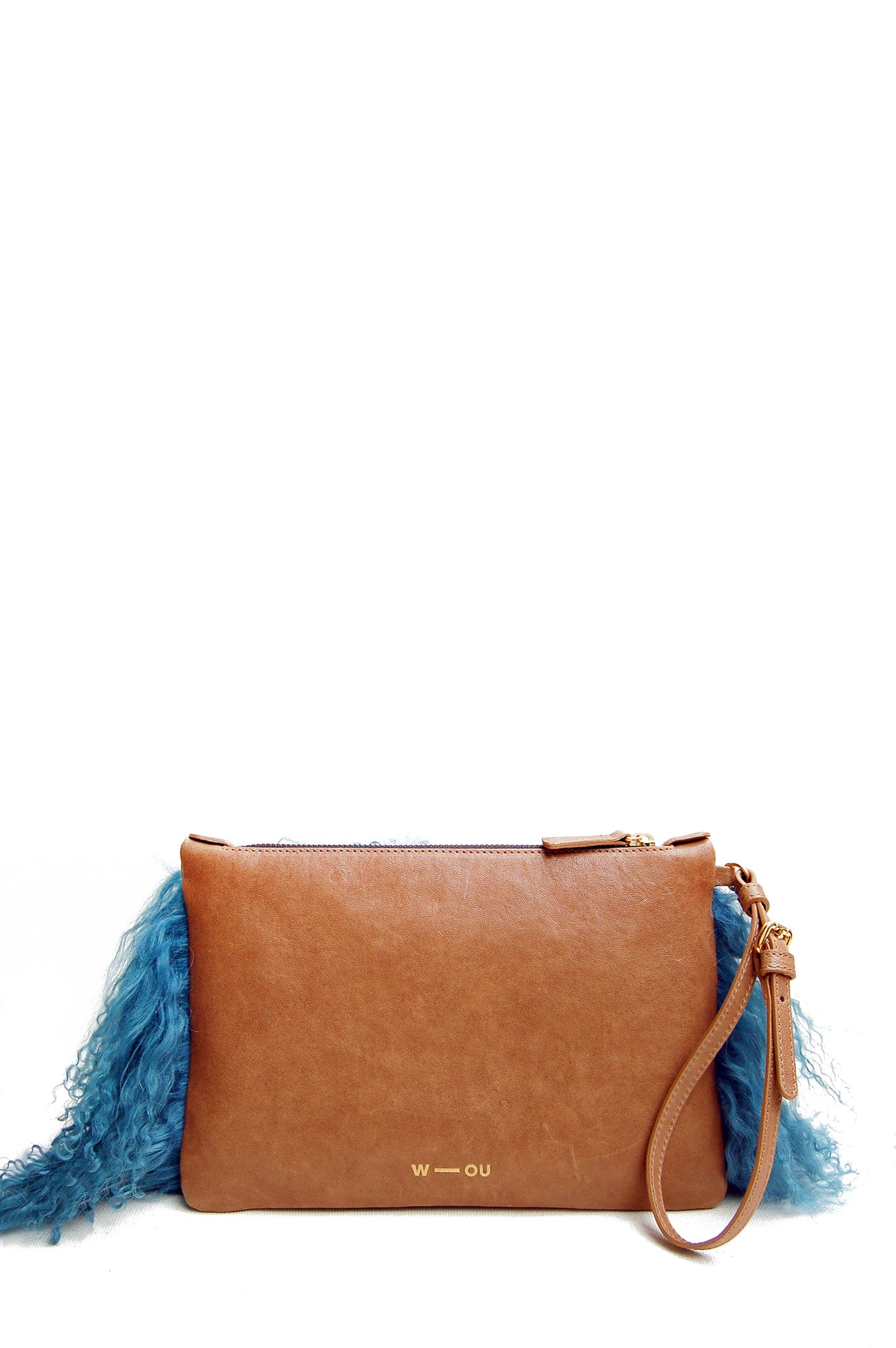 Wendee Ou: Florence clutch bag tan & turquoise fur | Bags,Bags > Clutches -  Hiphunters Shop