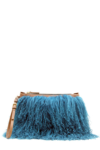 Florence Clutch Bag Tan & Turquoise Fur