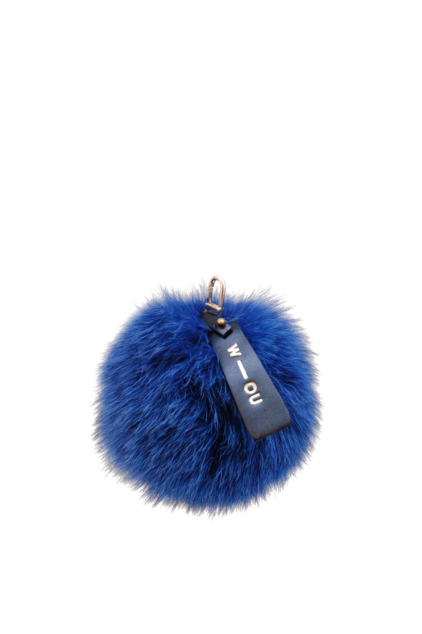Raccoon fur pom pom bag charm teal