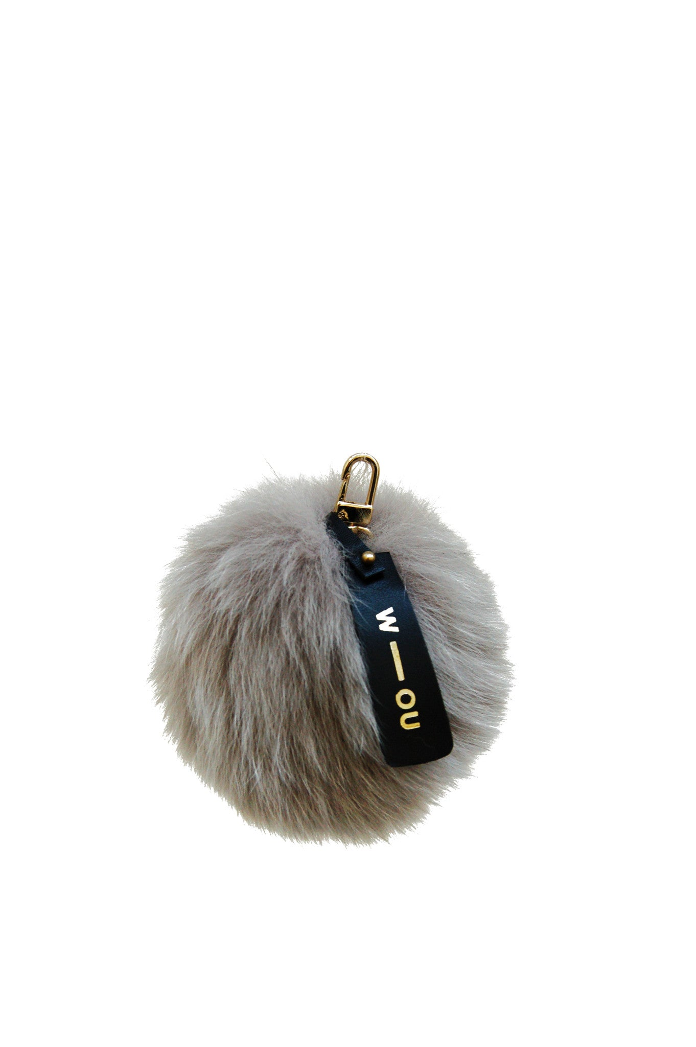 Raccoon fur pom pom bag charm grey