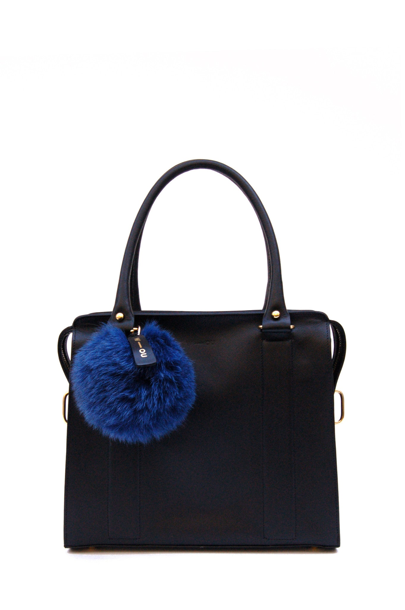 Wendee Ou: Raccoon fur pom pom bag charm teal | Accessories > Key rings,Accessories -  Hiphunters Shop