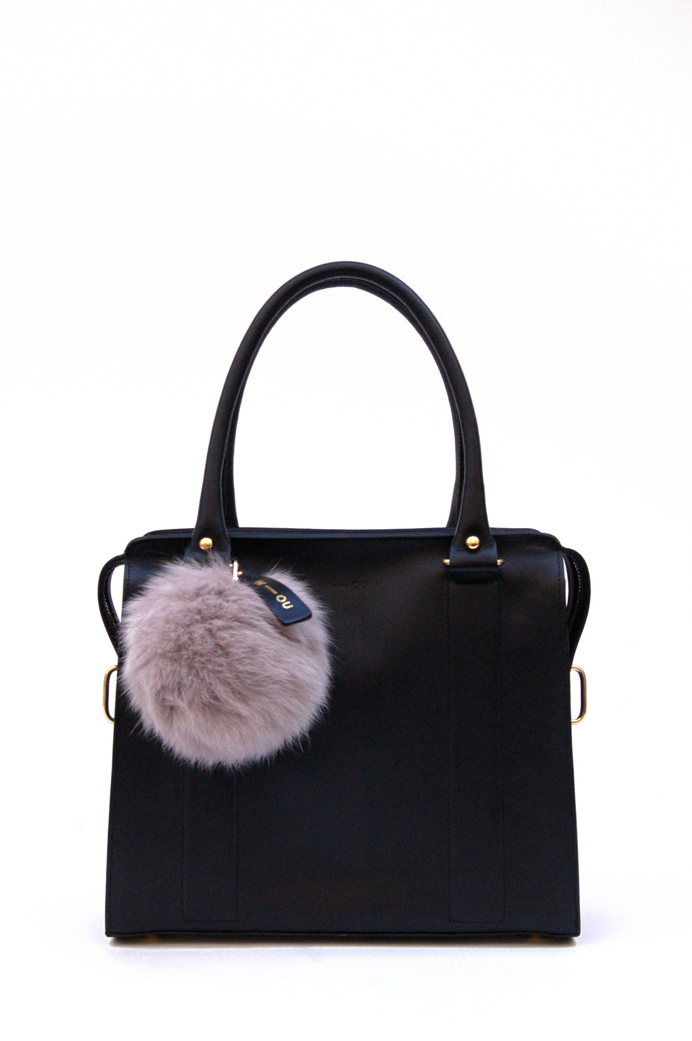 Wendee Ou: Raccoon fur pom pom bag charm grey | Accessories > Key rings,Accessories -  Hiphunters Shop