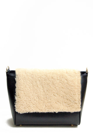 Sienna Flapover Handbag Black & Cream
