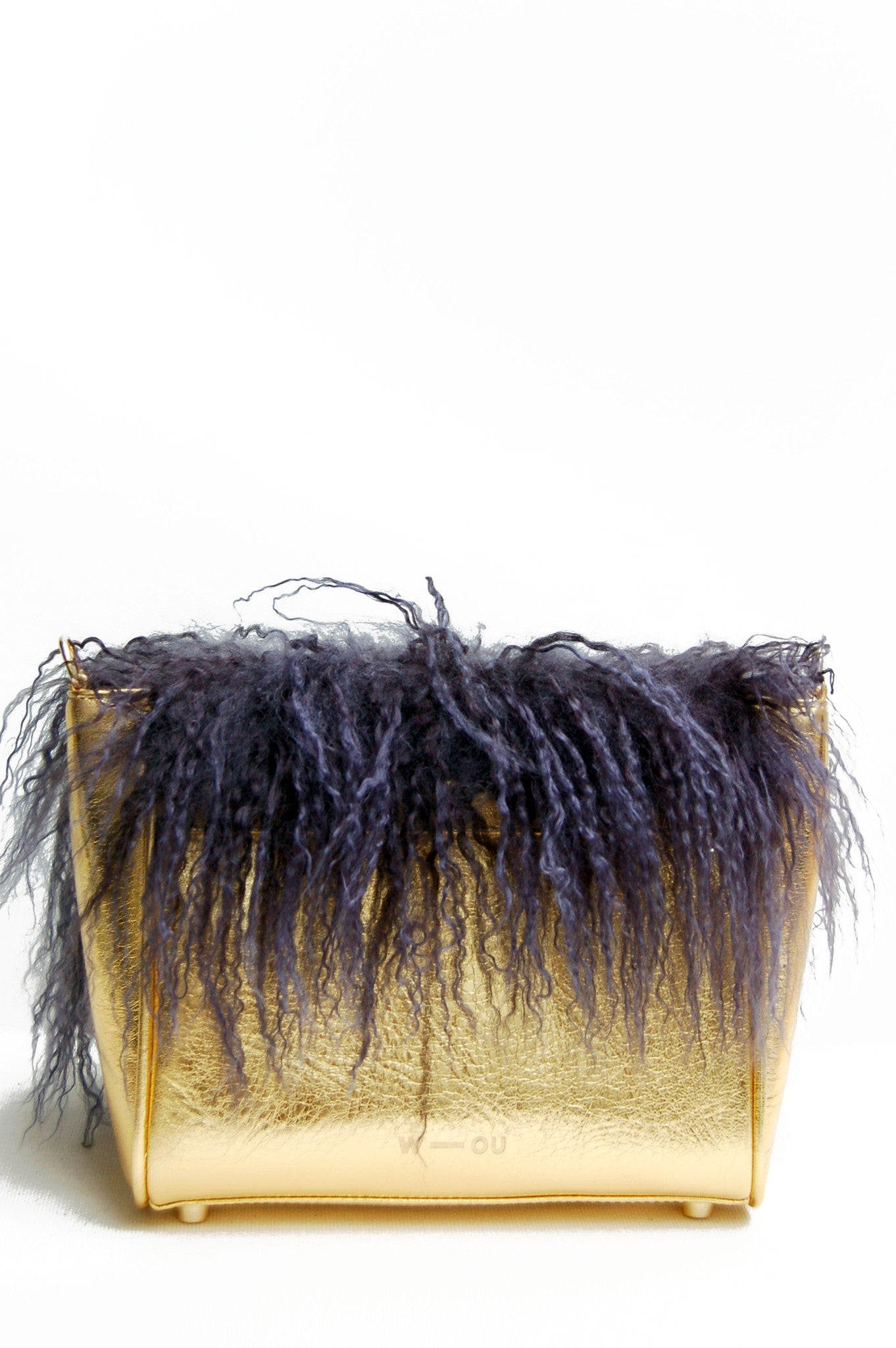 Wendee Ou: Sienna flapover handbag gold & purple fur | Bags > Handbags,Bags,Bags > Shoulder Bags -  Hiphunters Shop