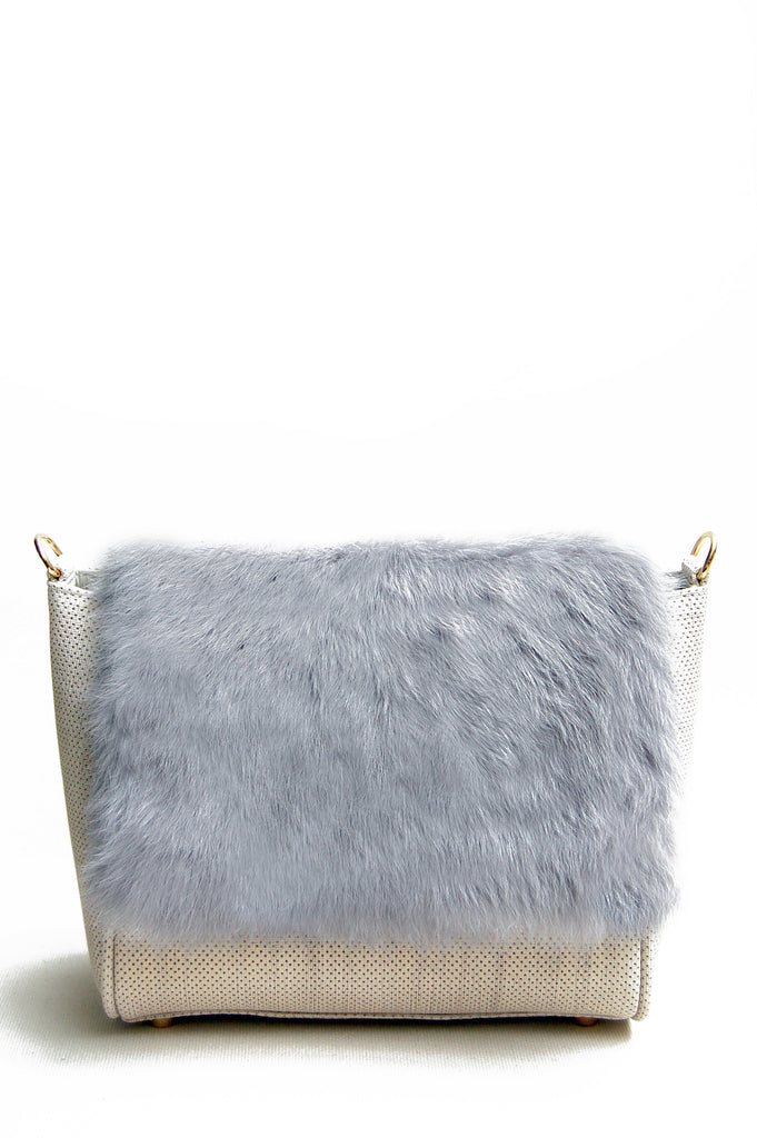 Sienna Flapover Handbag Cream & Grey
