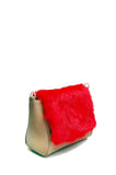 Sienna Flapover Handbag Tan & Red