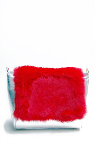 Sienna Fur Cross-body Bag Silver & Red