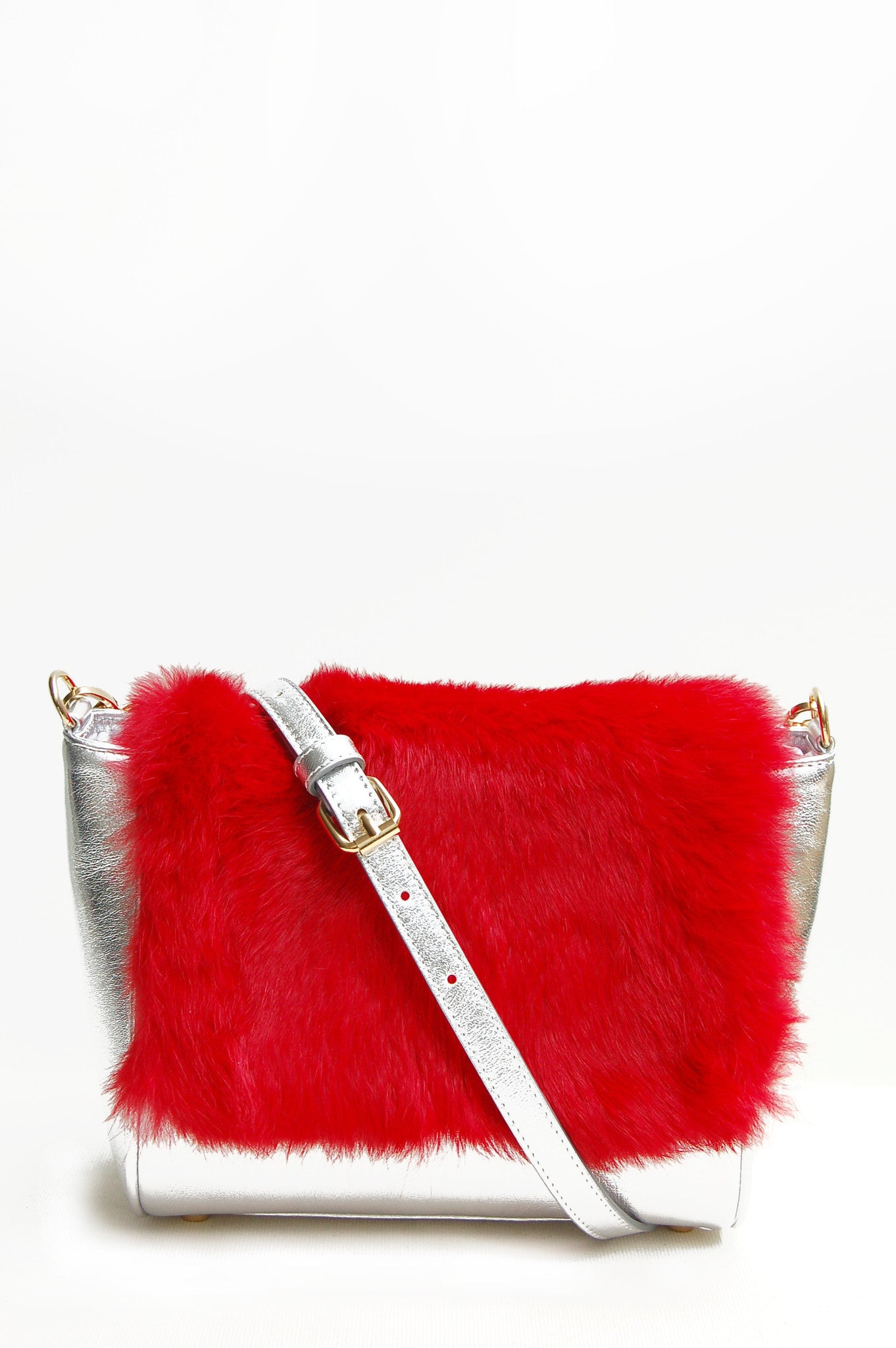 Wendee Ou: Sienna flapover handbag silver & red | Bags > Handbags,Bags,Bags > Shoulder Bags -  Hiphunters Shop