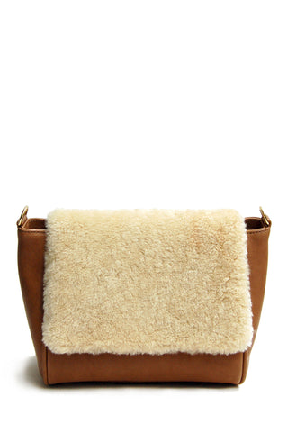 Sienna Flapover Handbag Tan & Cream