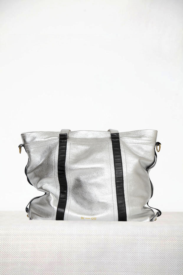 Wendee Ou: Elton classic tote metallic silver | Bags > Totes,Bags -  Hiphunters Shop