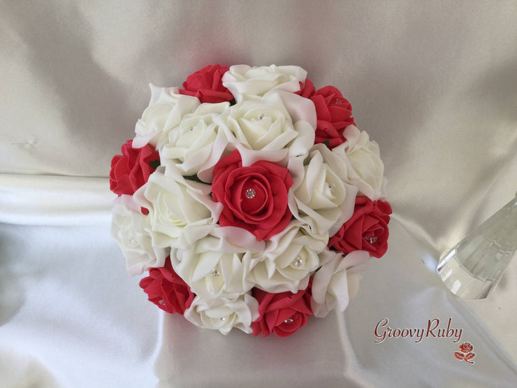 Coral & Ivory Rose Crystal