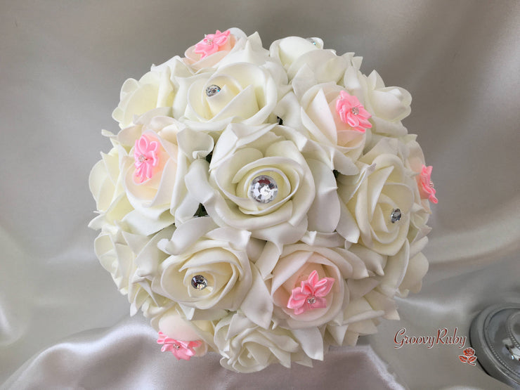 Rose Bouquets With Baby Pink Satin Diamante Flowers