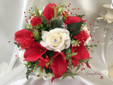Full Red Calla Lilies & Ivory Roses With Red Babies Breath