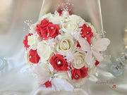 Coral & Ivory Roses With Diamanté Glitter Sheer Butterflies