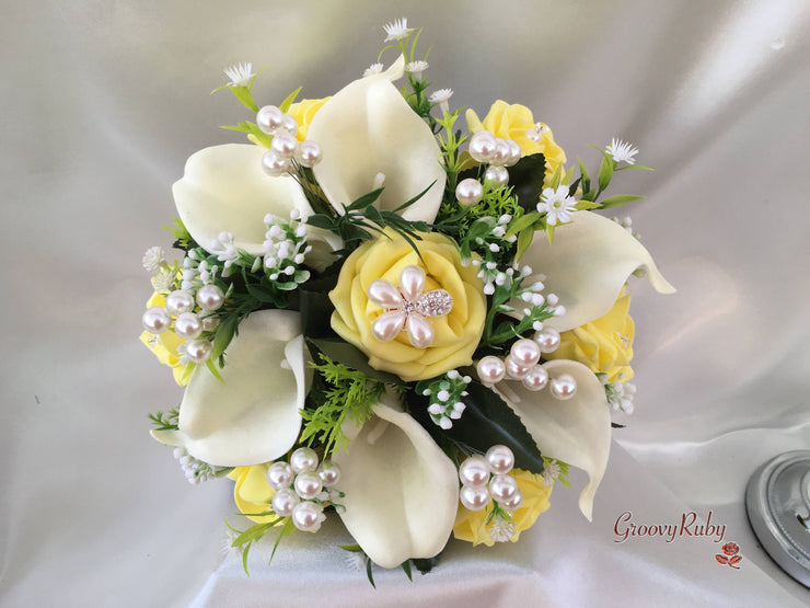 Lemon Rose & Large Calla Lily With Pearl Sprays & Pearl Brooch