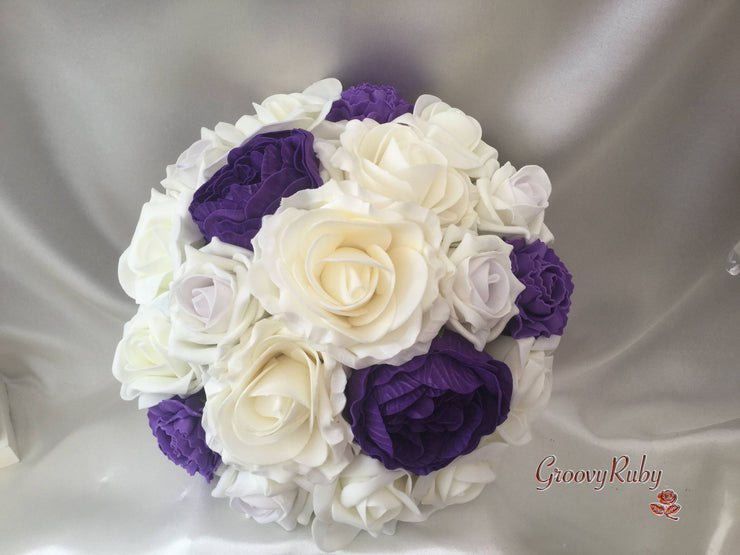 Purple Peonies, Carnations & Roses