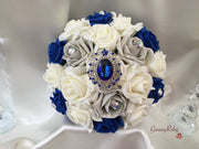 Roses With Royal Blue Regal Brooch