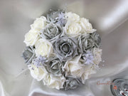 Silver Glitter Rose With Silver Babies Breath