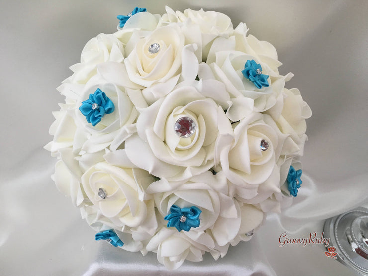 Rose Bouquets With Turquoise Satin Diamante Flowers