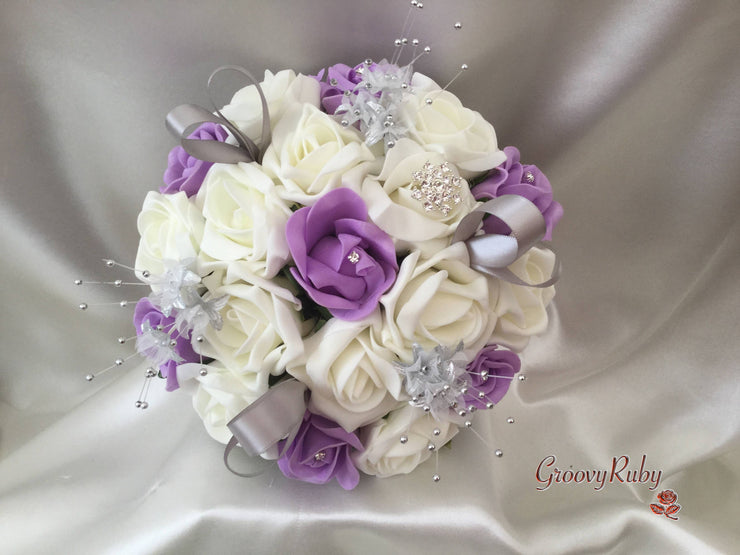 Lilac & Ivory Rose With Silver Loops & Babies Breath