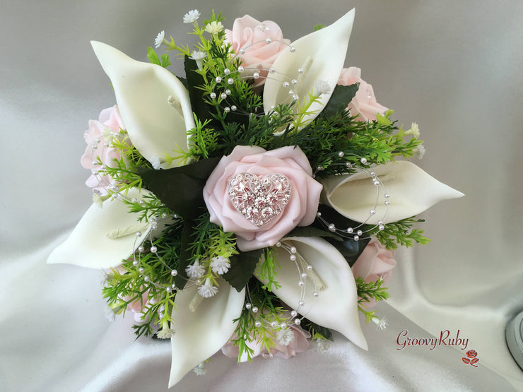 Baby Pink Rose & Calla Lily With Pearl Loops & Diamante Heart Brooch
