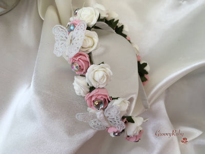 Dusky Pink & Ivory Alice Band With Glitter Butterflies