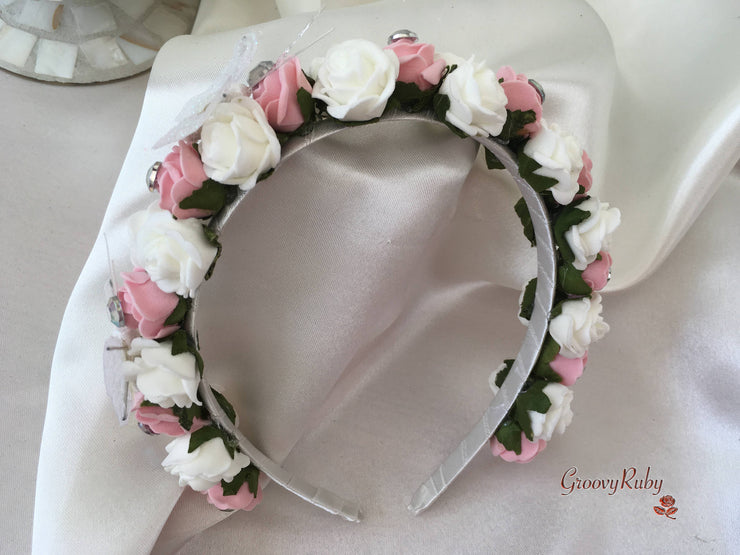 Dusky Pink & Ivory Roses With Diamanté Glitter Sheer Butterflies