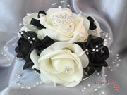 Black & Ivory Pearl Loop Brooch Cake Topper