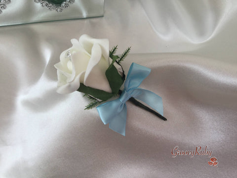 Single Crystal Bow Buttonhole - Bow Colour of your Choice