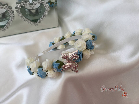 Baby Blue & Ivory Butterfly Alice Band