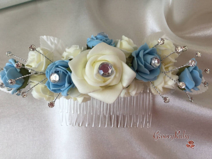 Baby Blue & Ivory Crystal Hair Comb