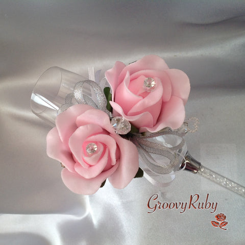 Diamante Wrist Corsage With Baby Pink Roses