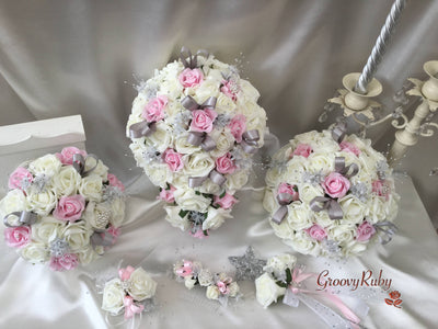 Baby Pink & Ivory Rose With Silver Loops & Babies Breath