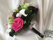 Hot Pink & Black Rose & Large White Calla Lily