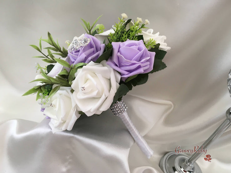 Lilac Roses With White & Cadbury Purple Centred Calla Lilies & Crystal Butterfly Brooch