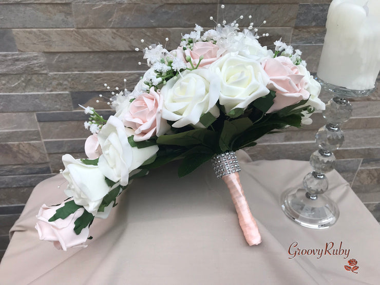 Mocha Pink & Ivory Rose With Round Filigree Brooch