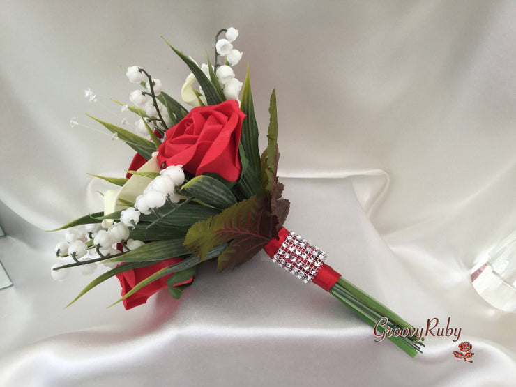Red Rose, Lily of the Valley & Large Calla Lily