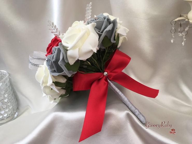 Crystal Spray Bouquets With Large Red & Silver Diamanté Brooch