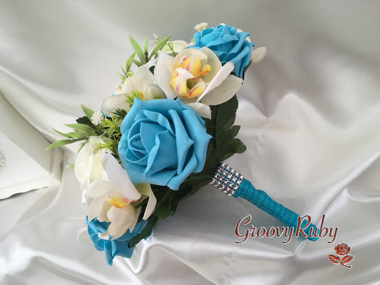 Ivory Orchids With Turquoise Roses & Foliage