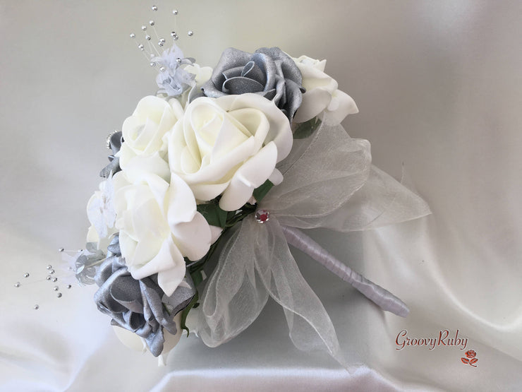 Silver Roses With Silver Babies Breath & Glitter Butterflies