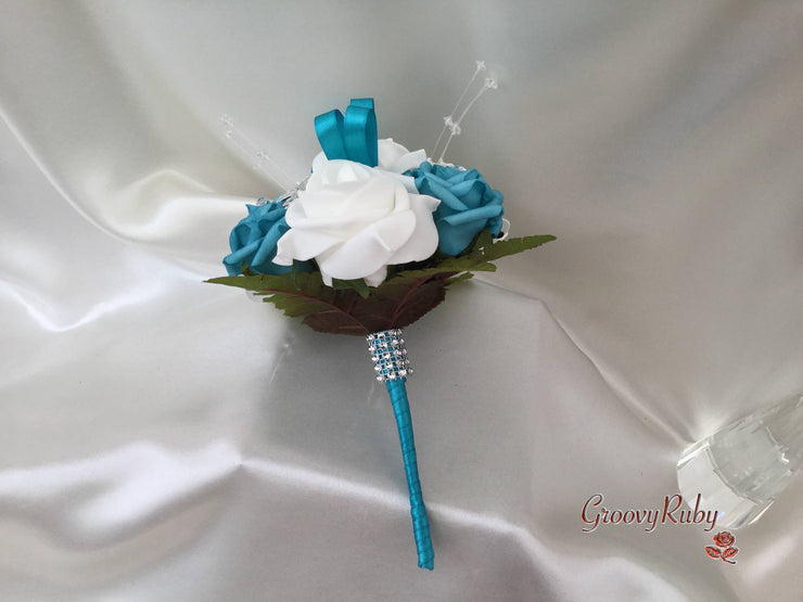 Turquoise & White Butterfly Crystal