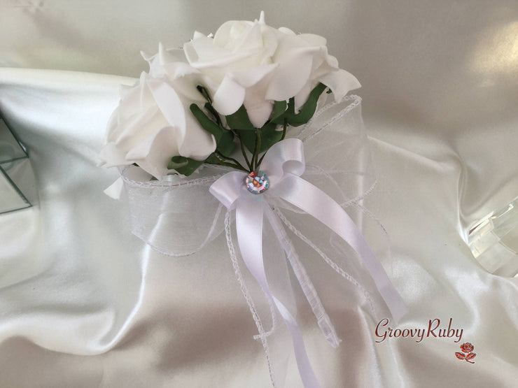 White Rose With Iridescent Brooches