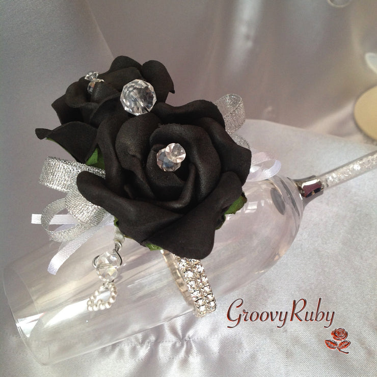 Diamante Wrist Corsage With Black Roses