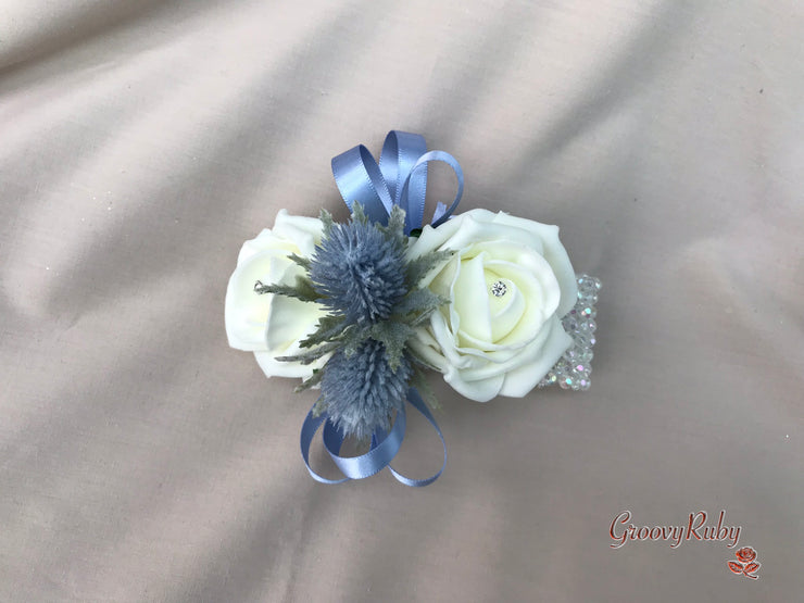 Blue Thistle With Glitter Loops