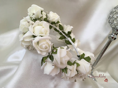 Bride Flower Head Garland - Ivory
