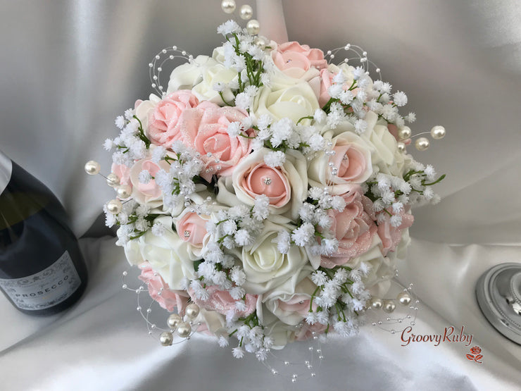 Glitter Blush Pink Roses With Gypsophila, Pearl Loops & Pearl Sprays