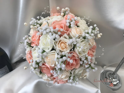 Blush Peach & Ivory Roses With Gypsophila, Pearl Loops & Pearl Sprays